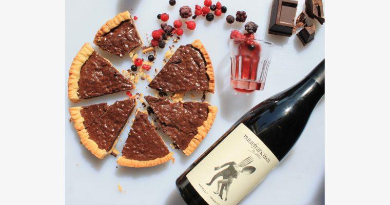 Chocolate Crostata and Battista Passito di Merlot. Drink it easy!