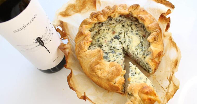 Spinach, Cream Cheese and Ham Pie with Annafrancesca Dragonfly Merlot